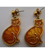Earrings, Post, Orange Kitty Cat Possibly Avon - $10.00