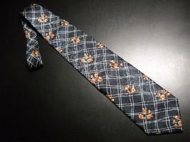 Structure Dress Neck Tie Dark Blue Background with Latticework Blooms Golds Reds - $10.99