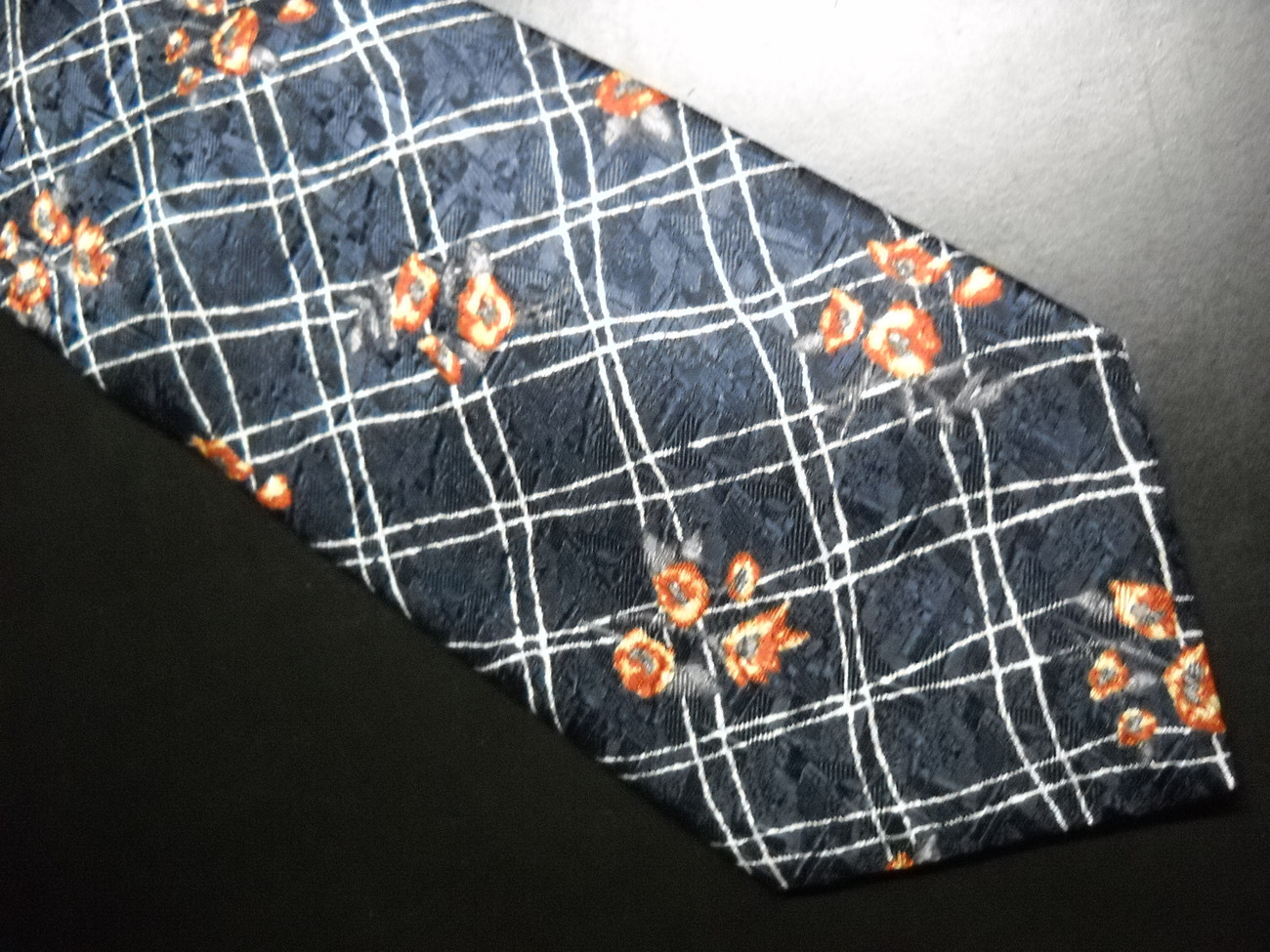 Structure Dress Neck Tie Dark Blue Background with Latticework Blooms Golds Reds