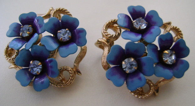 Earrings,  Avon, Clip Back, Forget Me Not