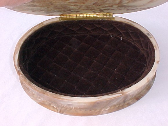 Vintage Incolay Jewelry Box Large Oval Loving Romantic Couple Motif GREAT GIFT