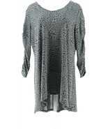 Dennis Basso Jacquard Knit Tunic Ruched Sleeve V-Neck Silver 1X NEW A367873 - $45.52