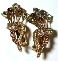 LARGE VINTAGE GREEN BROWN SIGNED 9628 CANADA RHINESTONE CLIP ON EARRINGS - $40.00