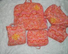 Retired Vera Bradley 5 Piece Luggage Orange PInk Sherbet Garment Duffel  - $163.28