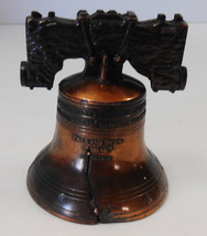 """VINTAGE LIBERTY BELL 2 3/4"""" TALL 2 1/8"""" DIAMETER HAND HELD COPPER - $11.88"""