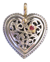 Gerochristo 1275 -  Solid 18K Gold, Silver & Ruby Filigree Heart Pendant  - $220.00