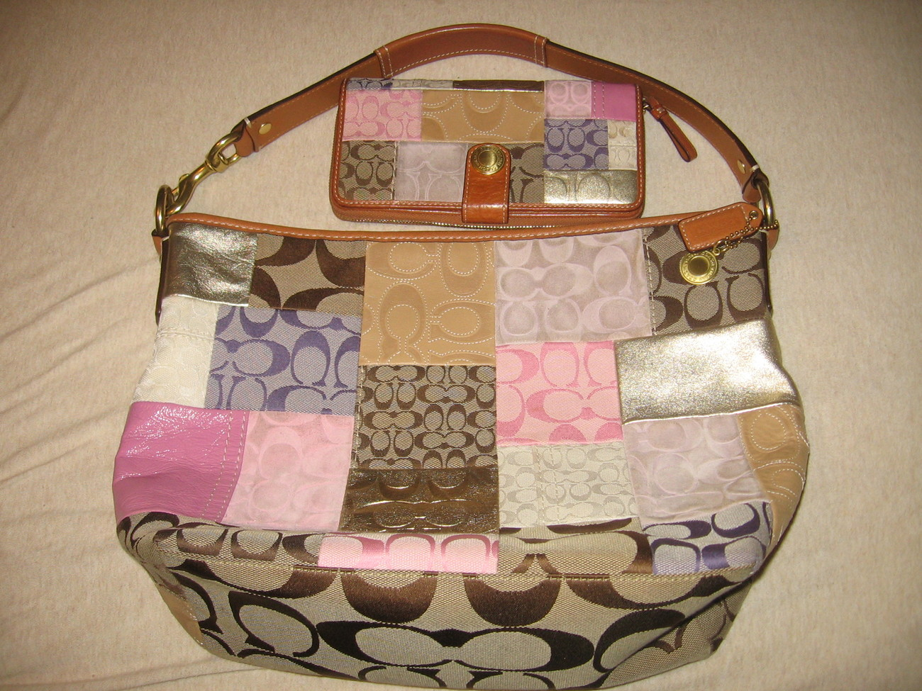 Coach Patchwork Set Bag and Accordian Wallet