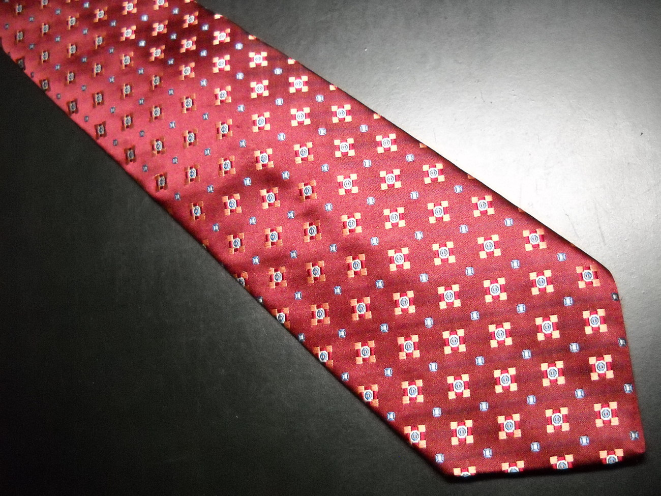 Daniel Cremieux Neck Tie Hand Made Dark Maroon with Orange Blue Silver Accents