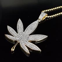 Round Cut White Diamond 10K Yellow Gold Plated 925 Silver Marijuana Leaf Pendant - $145.99