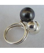 Gray silver pearls ring - $28.00