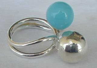 Primary image for Turquoise silver pearls ring