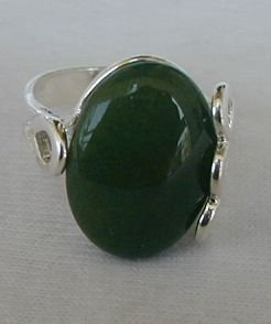 Green silver ring