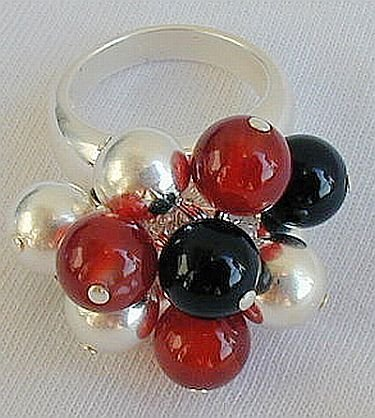 Silver onyx red agate ring