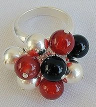 Silver onyx red agate ring - $39.00