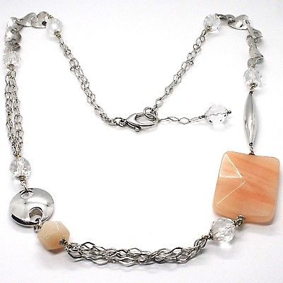 SILVER 925 NECKLACE, GIADA BROWN, LENGTH 80 CM, CHAIN WORKED WITH FLOWERS