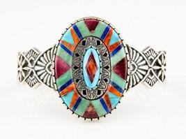 relios argent sterling bracelet rigide incrustation de turquoise réglable - $427.66