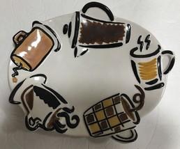 Studio Nova Set of 4 Dessert Snack Embossed Oval Plates Café Pattern -KT... - $44.55