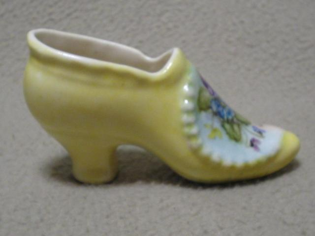 Vintage Small Handpainted Pansy Porcelain Slipper Shoe