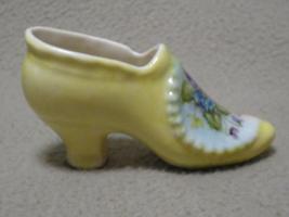 Vintage Small Handpainted Pansy Porcelain Slipper Shoe - $8.00