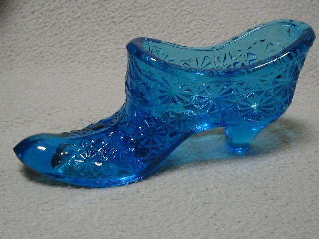 Vintage Clear Blue Glass Slipper Shoe Daisy & Button