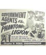 GOVERNMENT AGENTS Vs PHANTOM LEGION, 12 Chapter Serial - $19.99