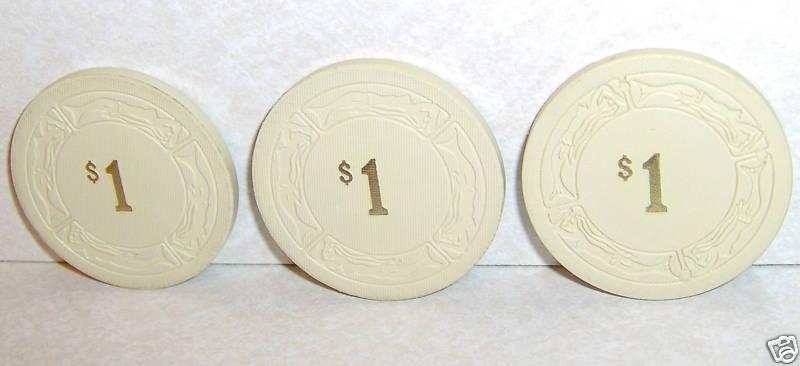 Lot of 3 The Sage Casino White $1 Poker Gambling Chips