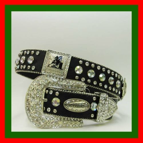Primary image for BLACK SILVER BARREL RACER CONCHO BUCKLE WESTERN COWBOY GIRL BELT S  M L OR XL