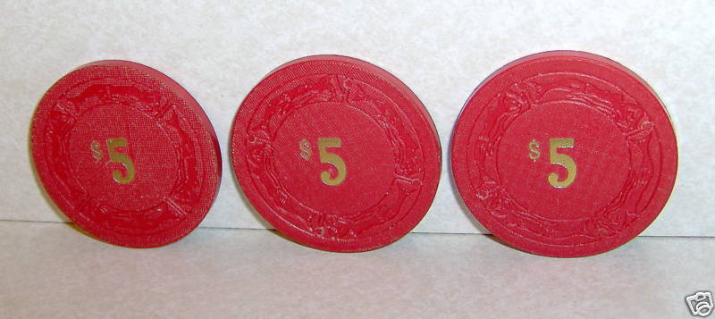 Lot of 3 The Sage Casino Red $5 Poker Gambling Chips