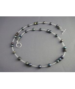 OOAK handmade dark pearl toggle necklace - $20.00
