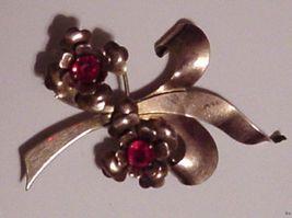 Vintage Gold Filled Brooch Ruby Glass Stones - $35.00