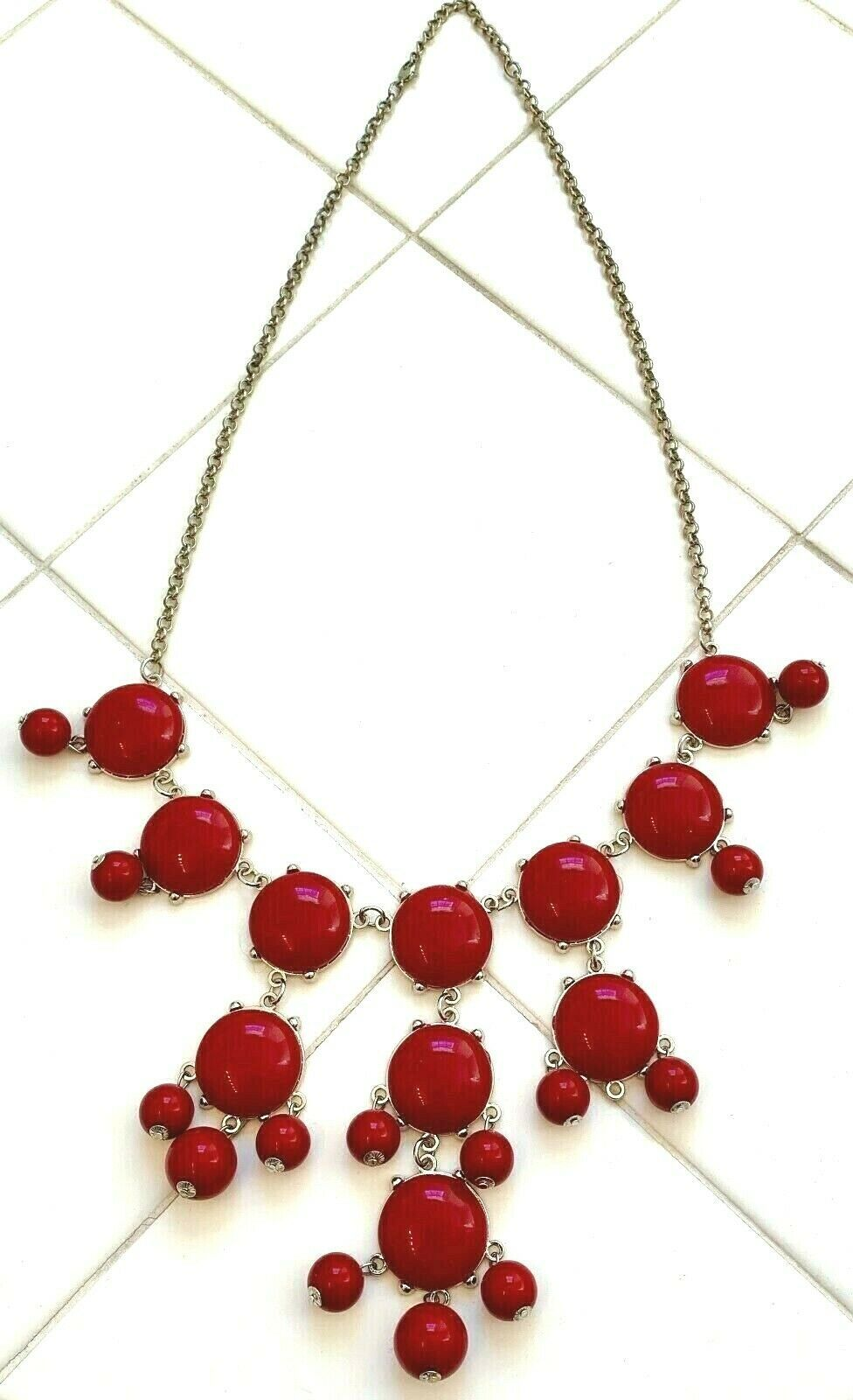 "BURGUNDY RED CLUSTER 29.5"" BEADED NECKLACE image 4"