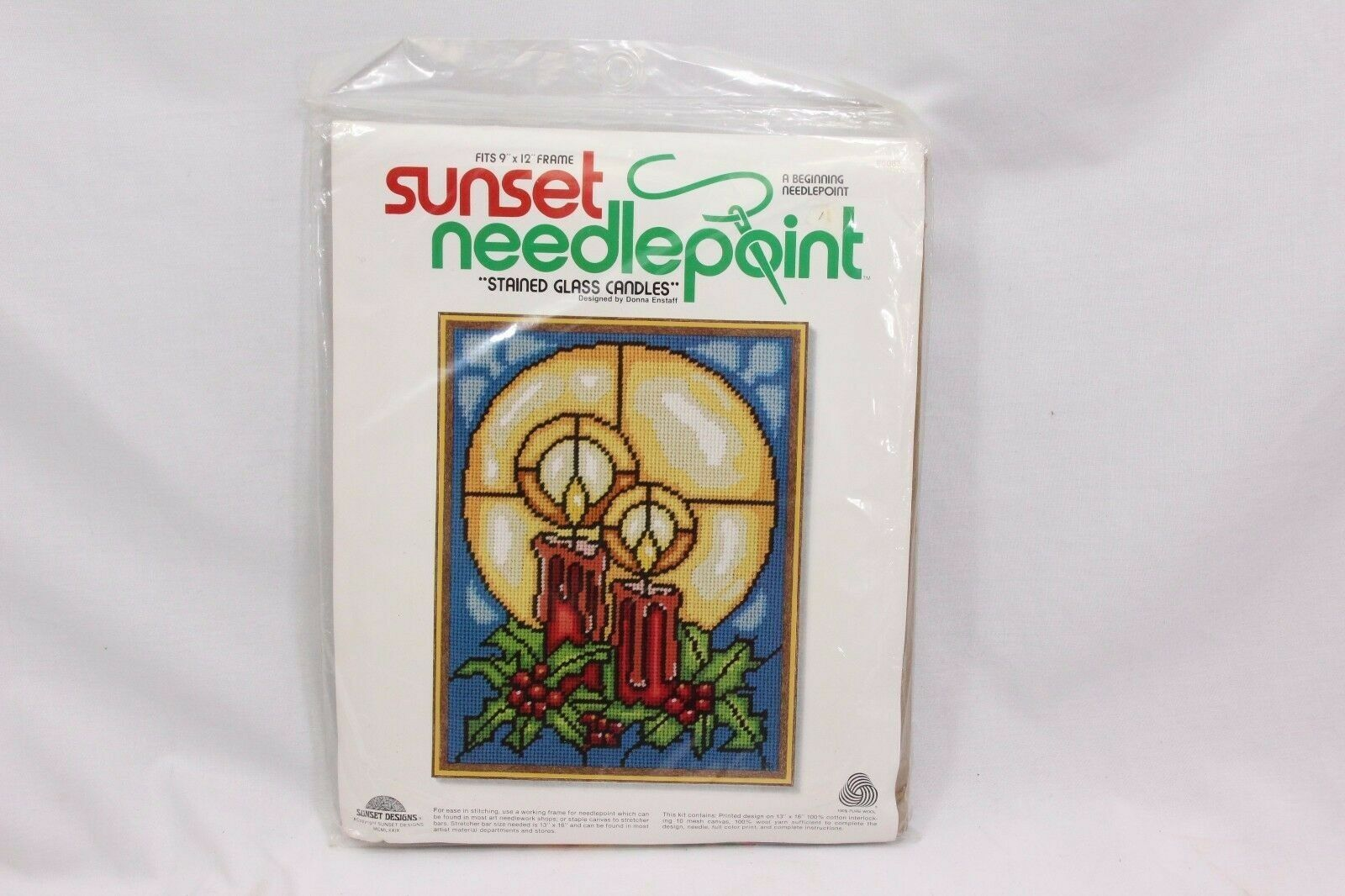 Sunset Xmas Needlepoint Stained Glass Candles 6083 - $32.33
