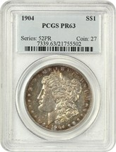1904 $1 PCGS PR 63 - Beautiful Rainbow Rim Toning - Morgan Silver Dollar - $3,288.30