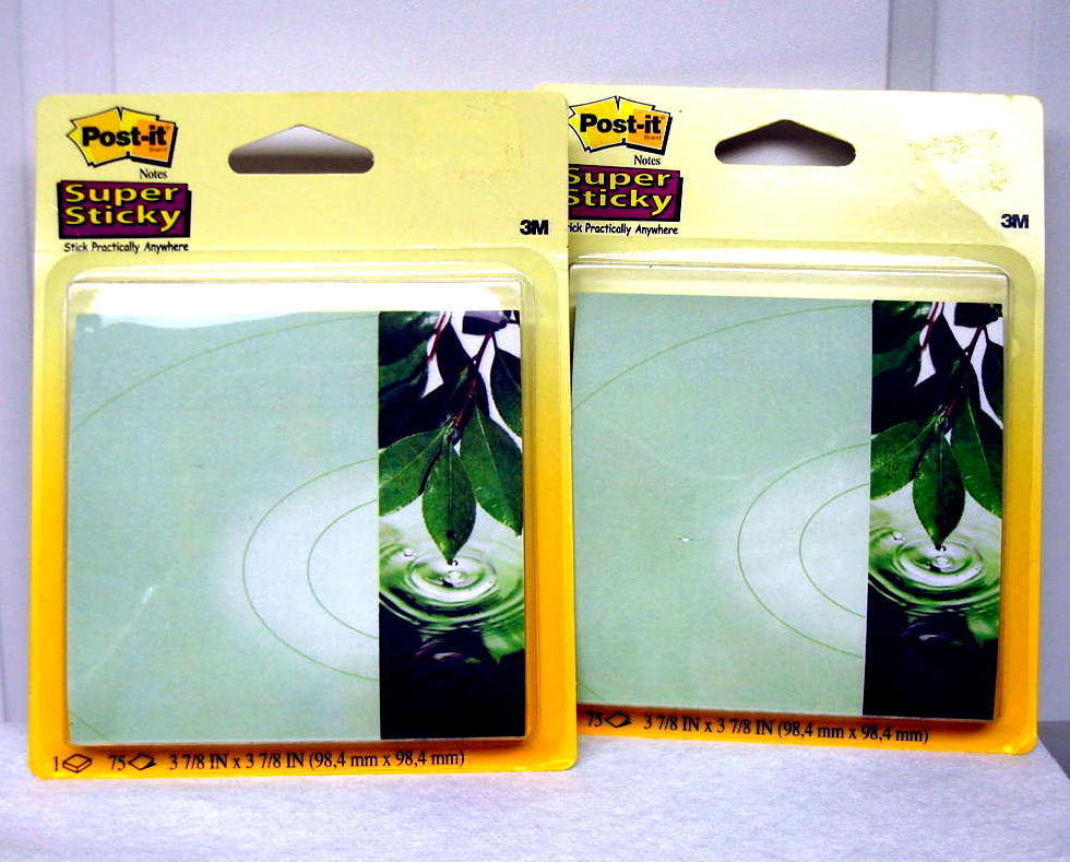 3M Post It Super Sticky Note Office Pads Green Leaves 2 Pack