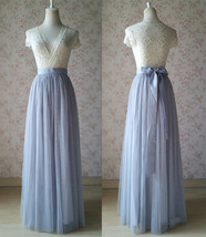 SILVER GRAY Wedding Bridesmaid Tulle Skirt High Waist Gray Maxi Full Tulle Skirt