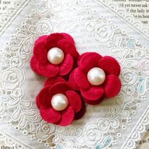 3 Red Felt Flowers with Pearl,Wool Felt Flowers,Craft Fabric Flowers,Hea... - $7.50