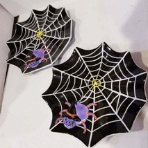 halloween decorations 2 Plates Two cute spider with web plates candy dis... - $0.98