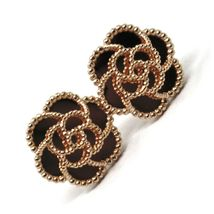 18K ROSE GOLD BOTTON FLOWER DAISY EARRINGS 14 MM, DOUBLE LAYER WORKED MIRROR image 3