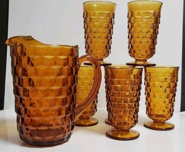 Vtg 7 Pc Set Indiana Colony Whitehall Amber ~ 52 Oz Pitcher, 6 Iced Tea ... - $42.56