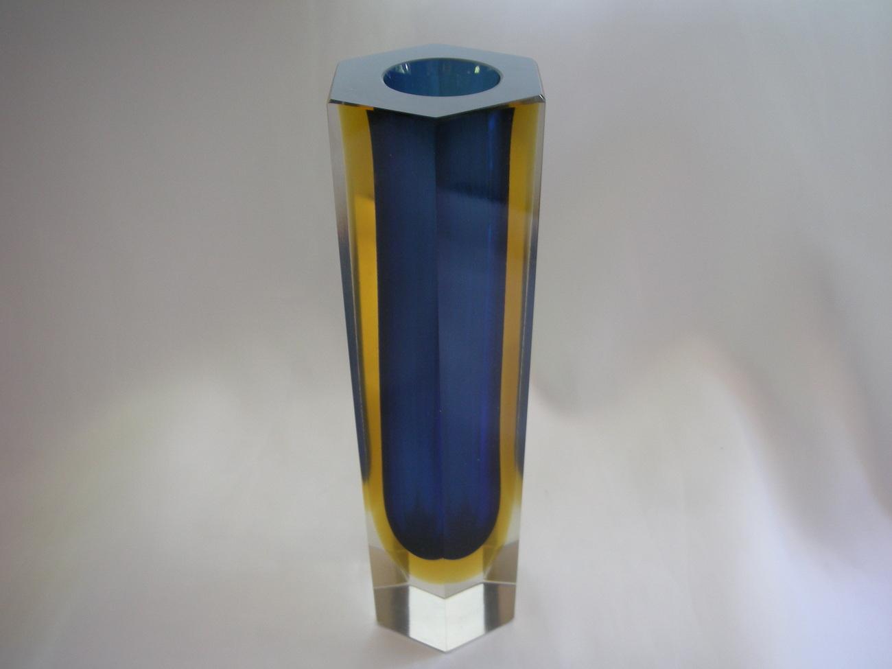 European Art Glass Hand Blown Vase Cobalt Blue and Amber  - $75.00