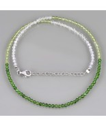 White Topaz, Peridot & Chrome Diopside Faceted Bead Necklace in 925 Silv... - $34.99