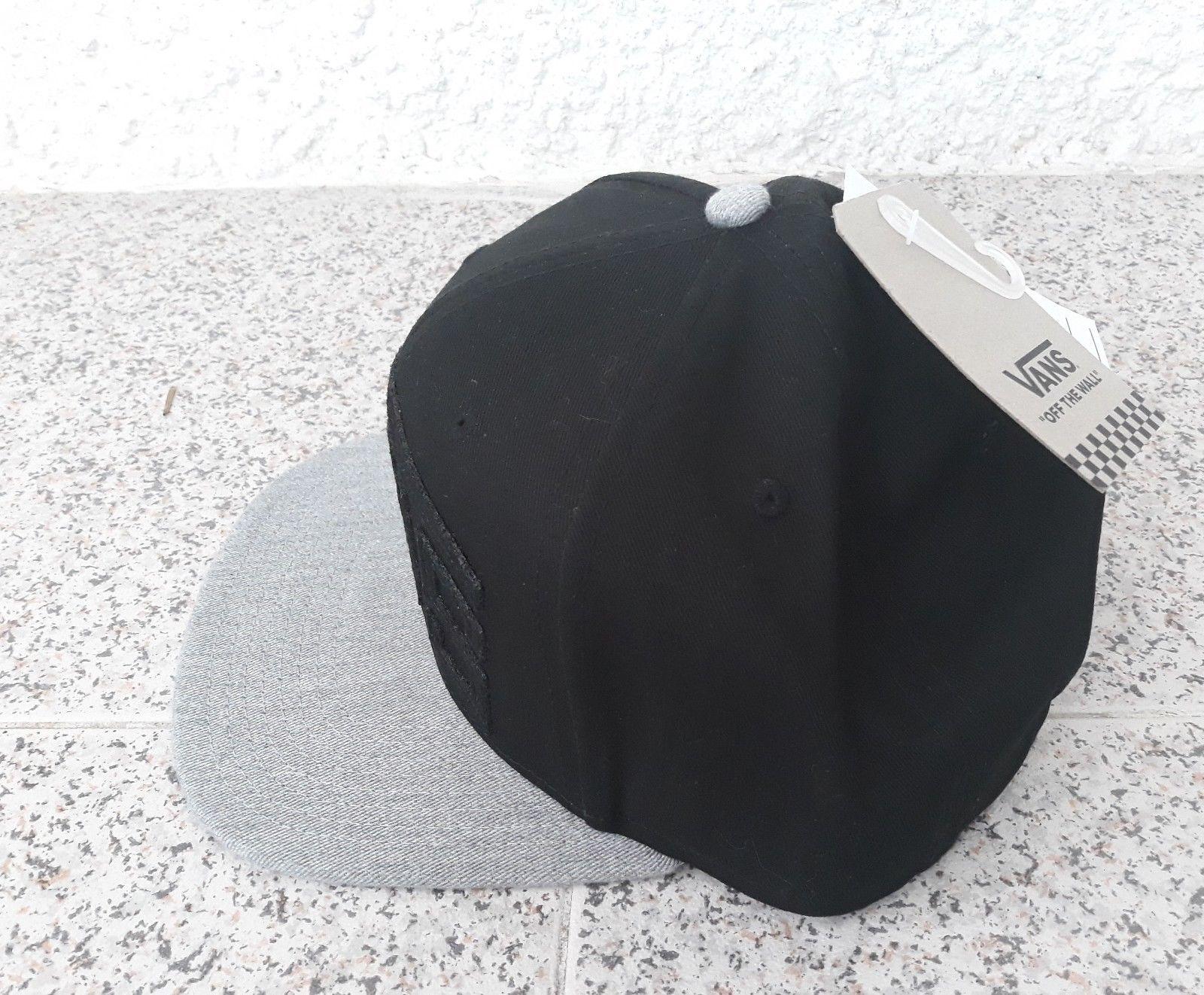 c92af1c1025 Vans Black Cap Grey Casual Hat 100% Cotton Adults One Size Flat Brim 6 Panel