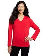 HUE V-Neck L/S Modal Blend Solid Pajama Sleep Top Cupid Small Medium Large - $8.09
