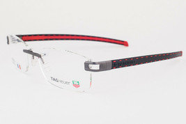 Tag Heuer L-Type T 0151 001 PVD Black & Red Leather Eyeglasses 57mm - $587.02