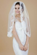Nero Women's One Tier Elbow Length Wedding Veil with Comb&lace, Bridal Veil - $18.69