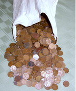 2,500 Lincoln Wheat Cents (Over 17 Lbs of Copper)  - $124.99