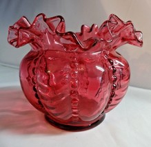 Fenton Art Glass Cranberry Beaded Melon Rose Bowl Vase - $59.00