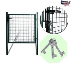Garden Fence Gate Single Door Patio Yard Entryway Steel Lockable Heavy D... - $169.66