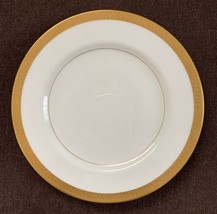 "Vintage Mikasa Pembroke 7 1/2"" Salad Plate Bone China White Gold Verge Trim - $8.60"
