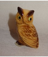 Vintage Miniature Bone China Owl Made in Japan Brown Tan - $15.78
